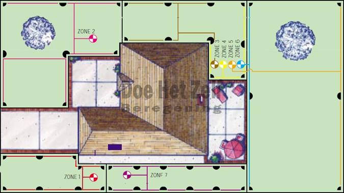 tekening voorbeeldtuin met verschillende zones